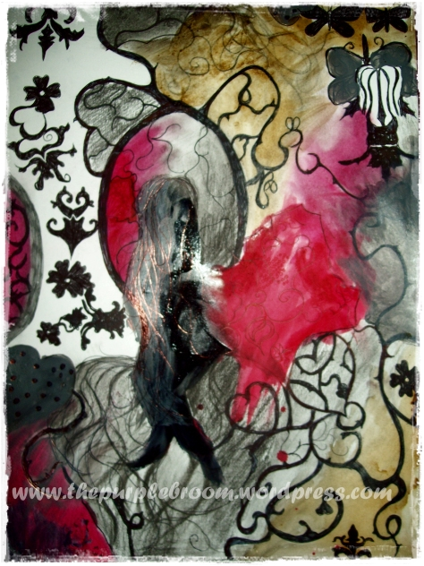 Isadora- The Haunted no 2. Pen, Pencil, Charcoal, Glass stain, Glass liner, lipstick, food colouring and Coffee stain on A3 Paper